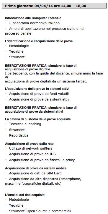 Agenda corso 1