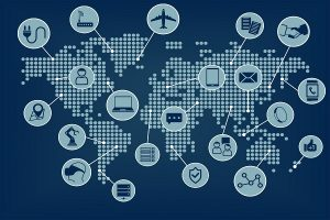 Internet of things (IoT) world map with connected devices